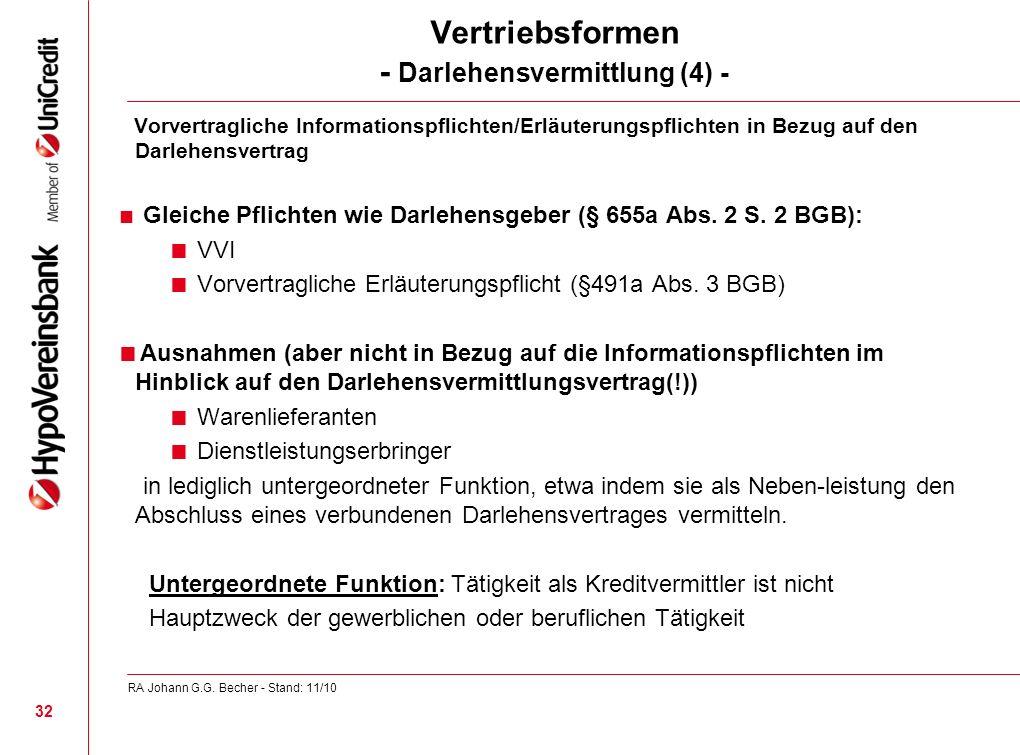 Vertriebsformen - Darlehensvermittlung (4) -