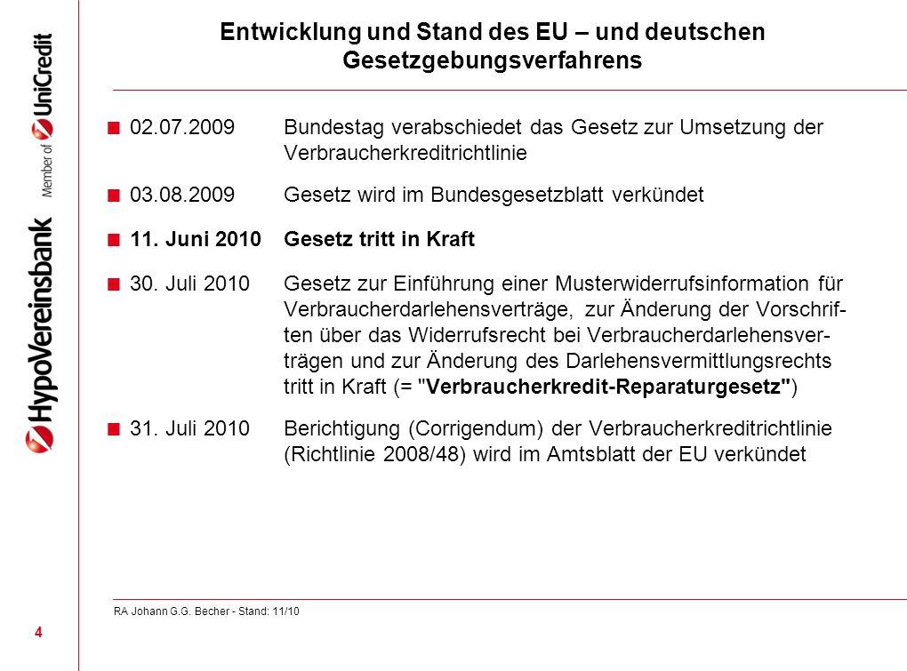 Entwicklung und Stand des EU – und deutschen Gesetzgebungsverfahrens