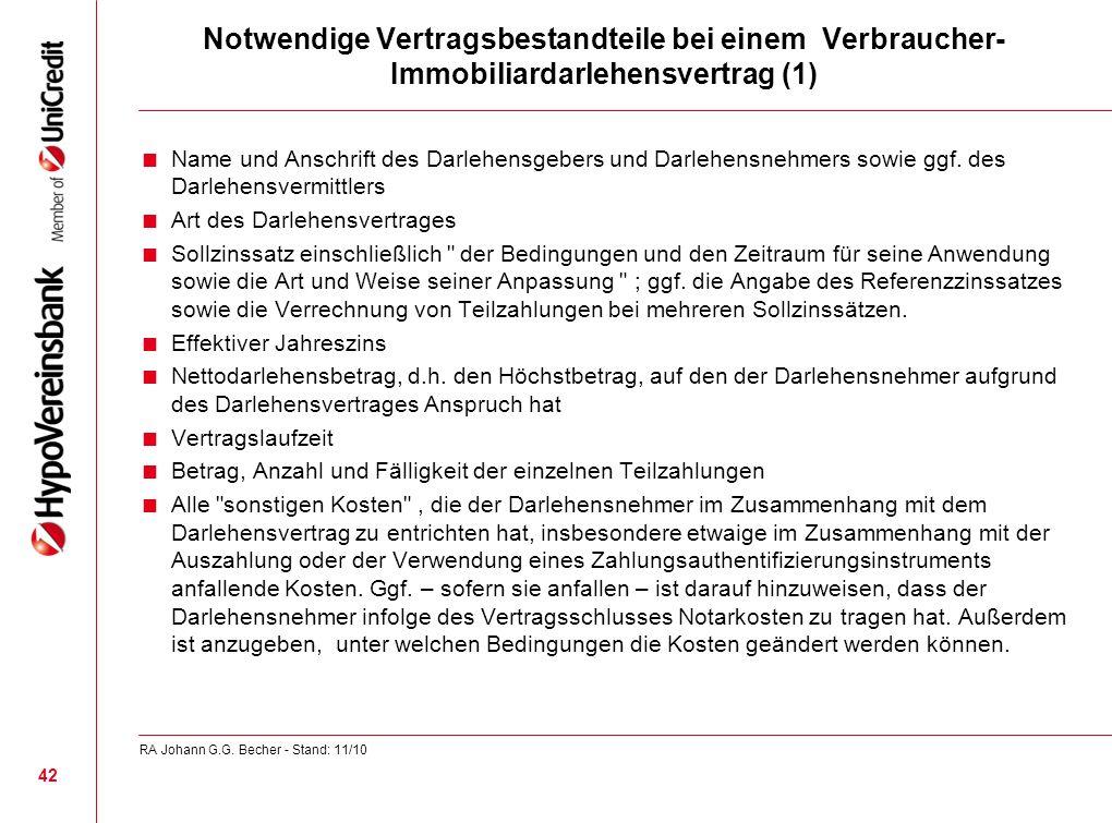 Notwendige Vertragsbestandteile bei einem Verbraucher-Immobiliardarlehensvertrag (1)