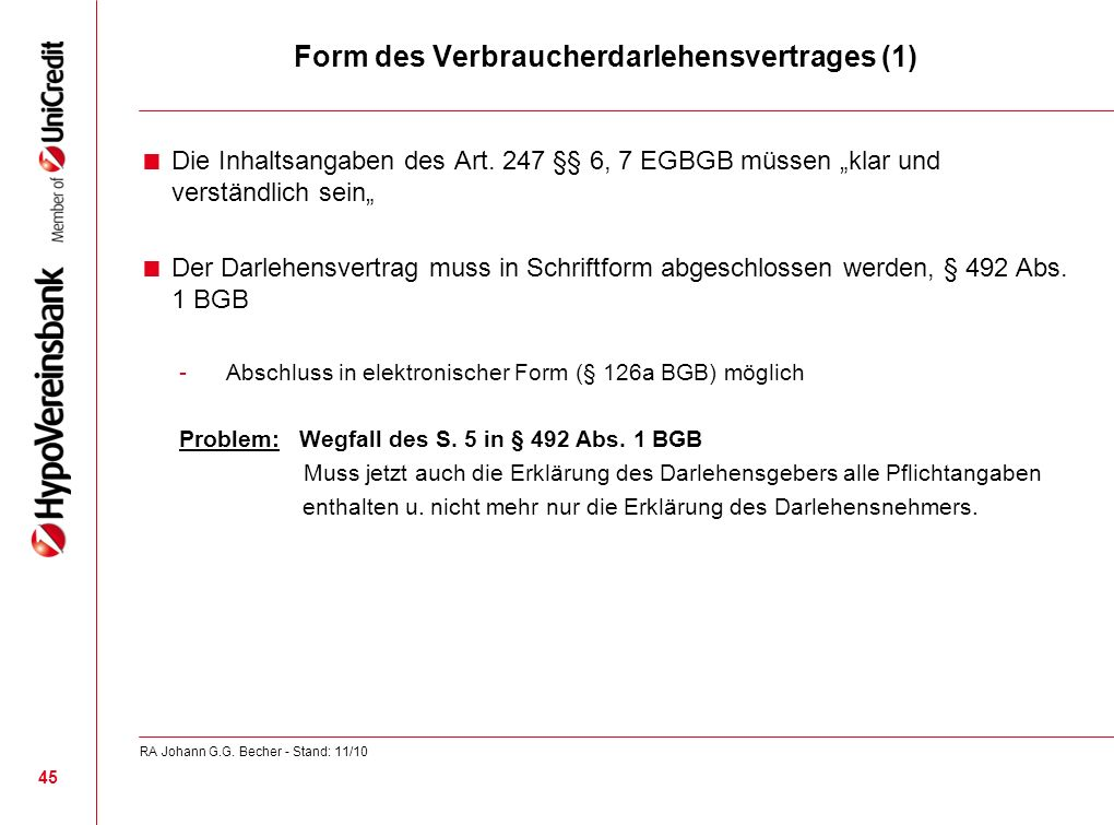 Form des Verbraucherdarlehensvertrages (1)