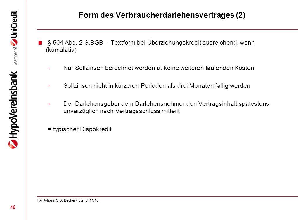 Form des Verbraucherdarlehensvertrages (2)