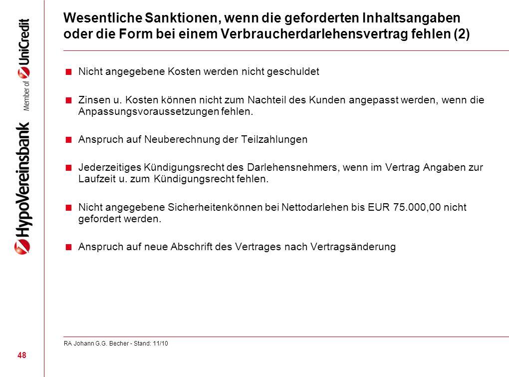 Wesentliche Sanktionen, wenn die geforderten Inhaltsangaben oder die Form bei einem Verbraucherdarlehensvertrag fehlen (2)