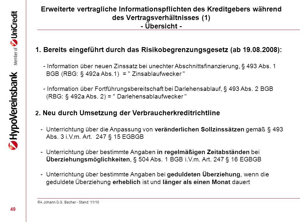 Erweiterte vertragliche Informationspflichten des Kreditgebers während des Vertragsverhältnisses (1) - Übersicht -