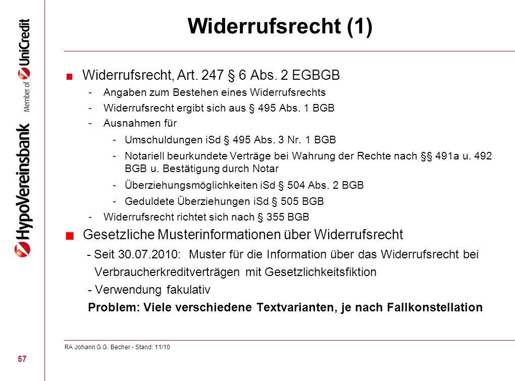 Widerrufsrecht (1) Gesetzliche Musterinformationen über Widerrufsrecht