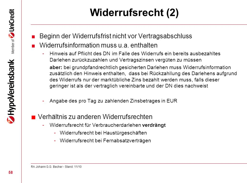 Widerrufsrecht (2) Verhältnis zu anderen Widerrufsrechten