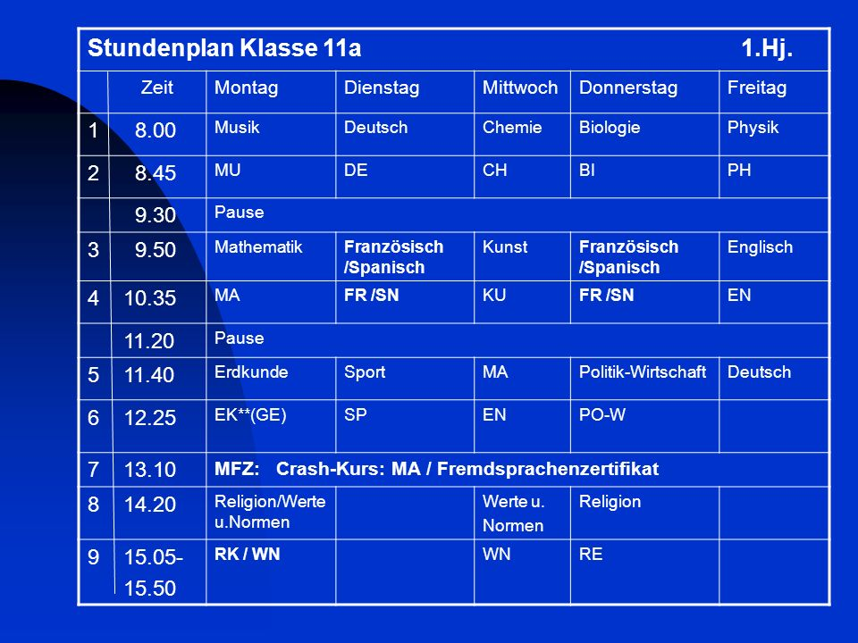 Stundenplan Klasse 11a 1.Hj.