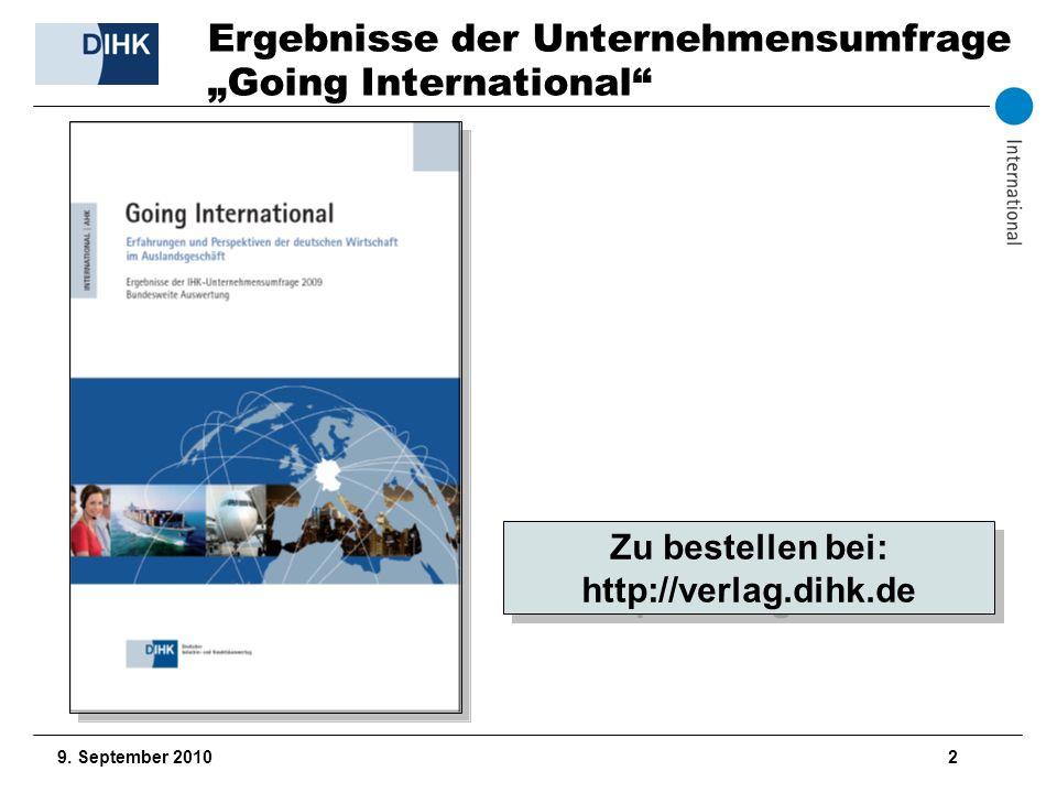 """Ergebnisse der Unternehmensumfrage """"Going International"""