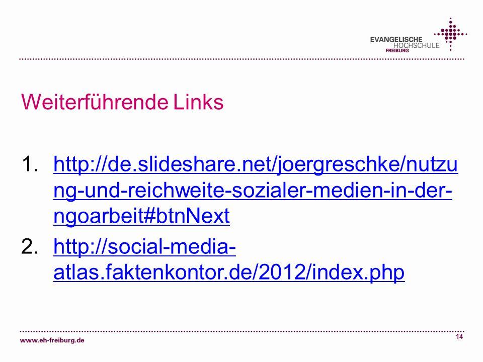 Weiterführende Linkshttp://de.slideshare.net/joergreschke/nutzung-und-reichweite-sozialer-medien-in-der-ngoarbeit#btnNext.