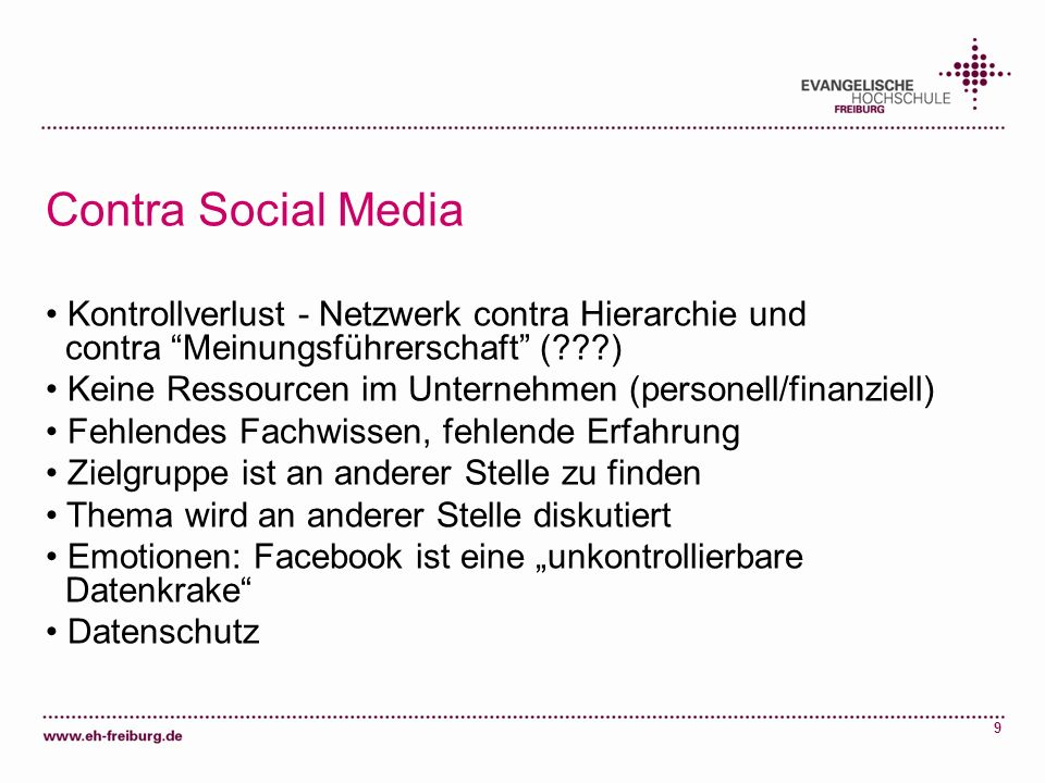 Contra Social Media Kontrollverlust - Netzwerk contra Hierarchie und contra Meinungsführerschaft ( )