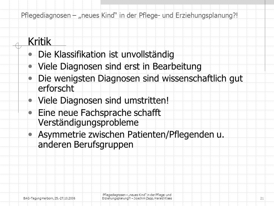 """Pflegediagnosen – """"neues Kind in der Pflege- und Erziehungsplanung !"""