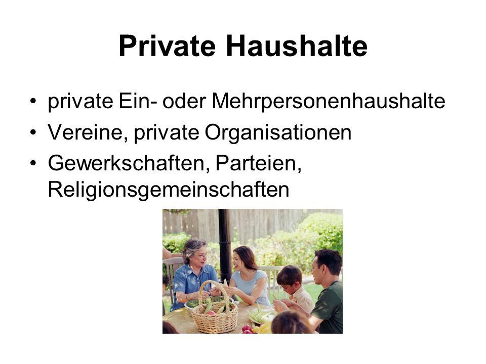 Private Haushalte private Ein- oder Mehrpersonenhaushalte