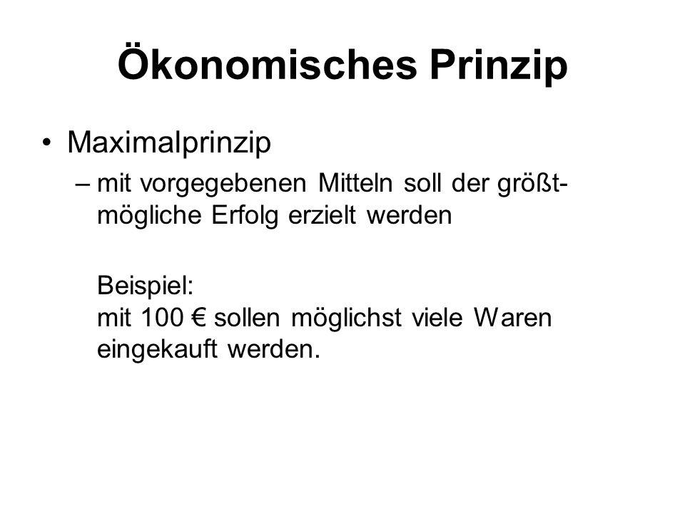 Ökonomisches Prinzip Maximalprinzip