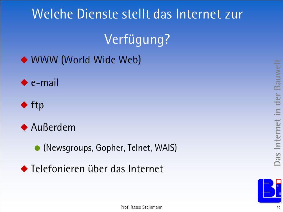 Welche Dienste stellt das Internet zur Verfügung