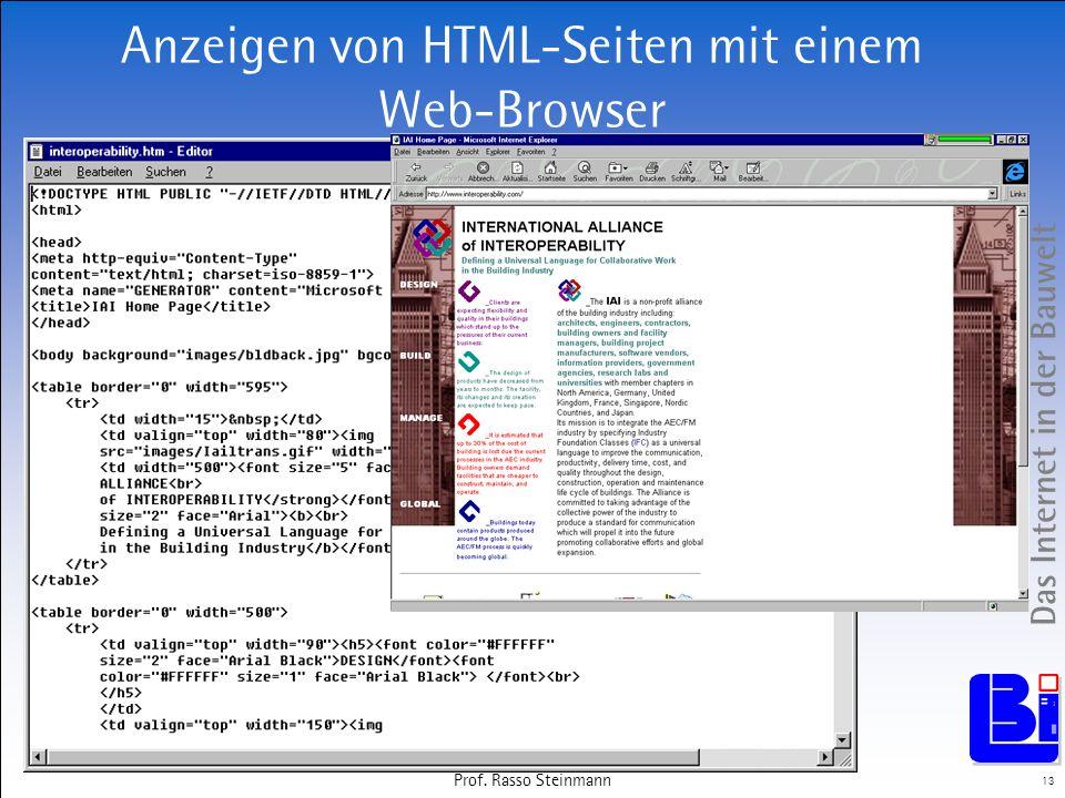 Anzeigen von HTML-Seiten mit einem Web-Browser