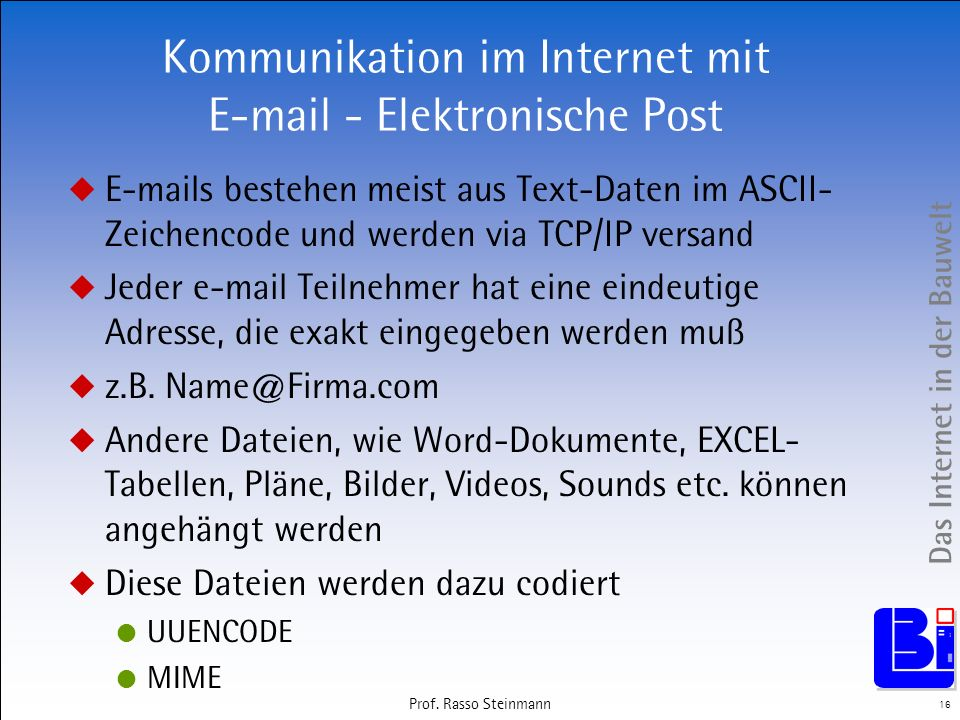 Kommunikation im Internet mit E-mail - Elektronische Post