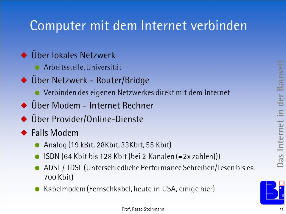 Computer mit dem Internet verbinden