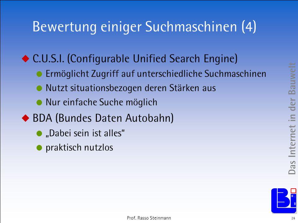 Bewertung einiger Suchmaschinen (4)