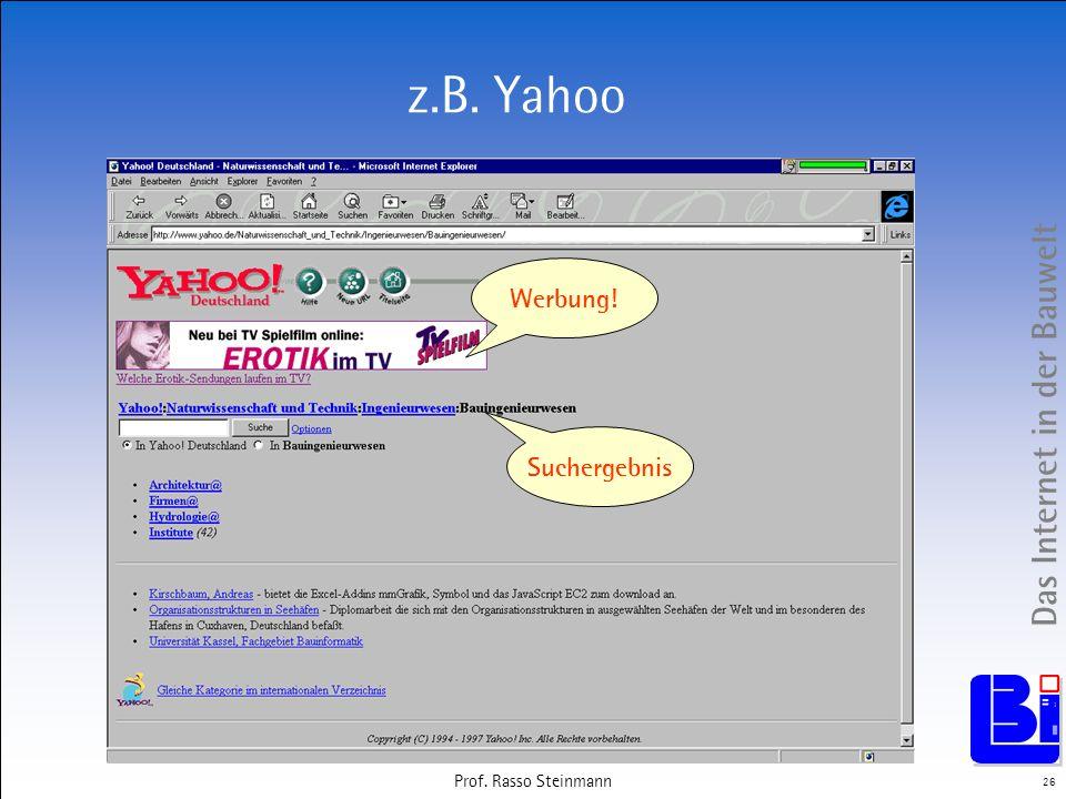 z.B. Yahoo Werbung! Suchergebnis Prof. Rasso Steinmann