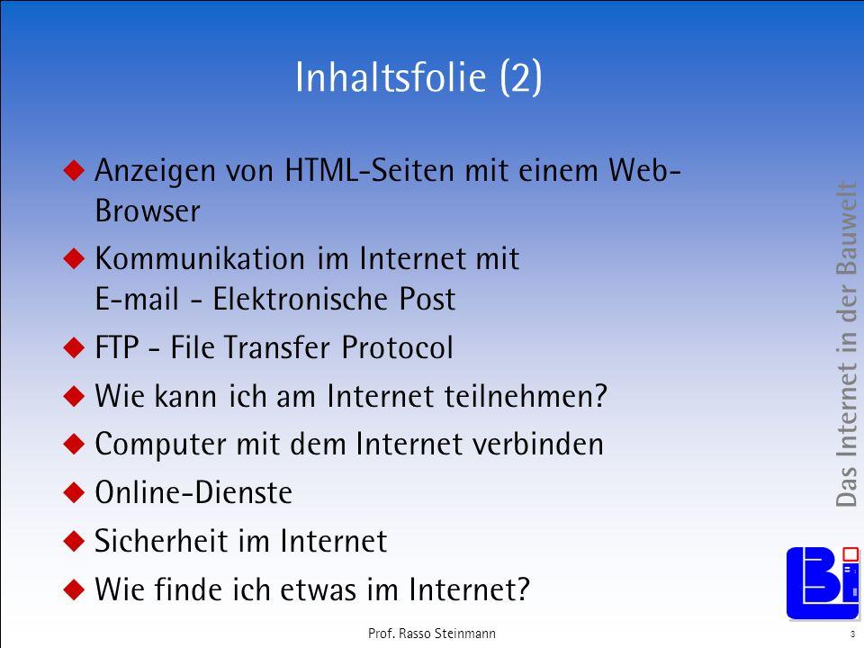 Inhaltsfolie (2) Anzeigen von HTML-Seiten mit einem Web-Browser