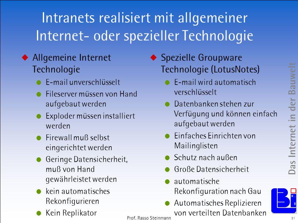 Intranets realisiert mit allgemeiner Internet- oder spezieller Technologie