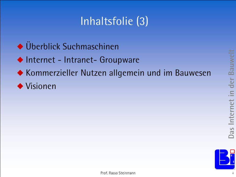 Inhaltsfolie (3) Überblick Suchmaschinen
