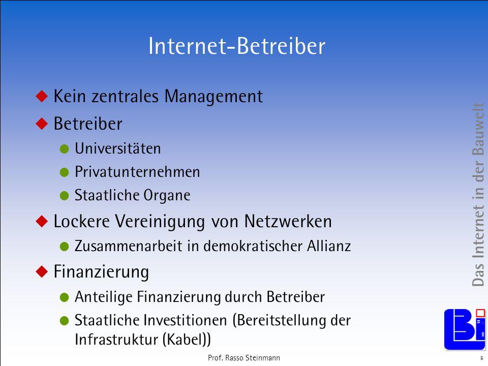 Internet-Betreiber Kein zentrales Management Betreiber