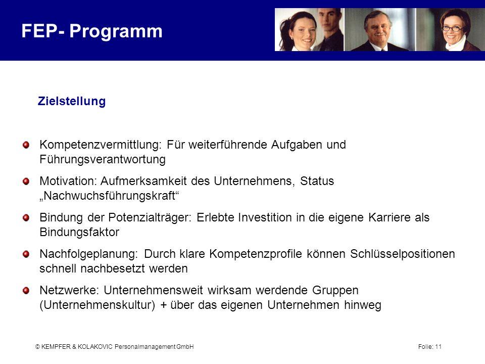 FEP- Programm Zielstellung