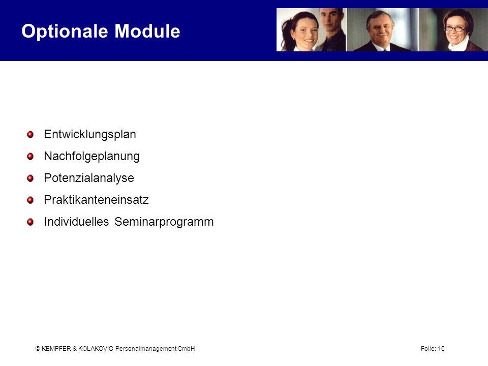 Optionale Module Entwicklungsplan Nachfolgeplanung Potenzialanalyse