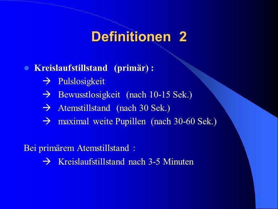 Definitionen 2 Kreislaufstillstand (primär) :  Pulslosigkeit