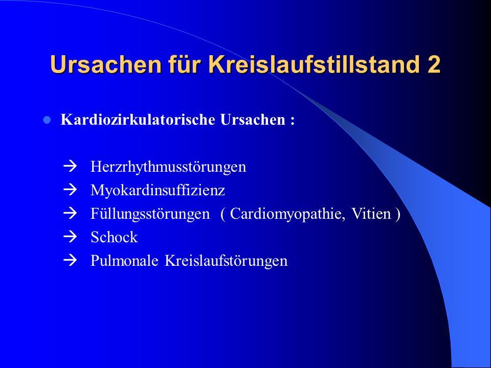Ursachen für Kreislaufstillstand 2