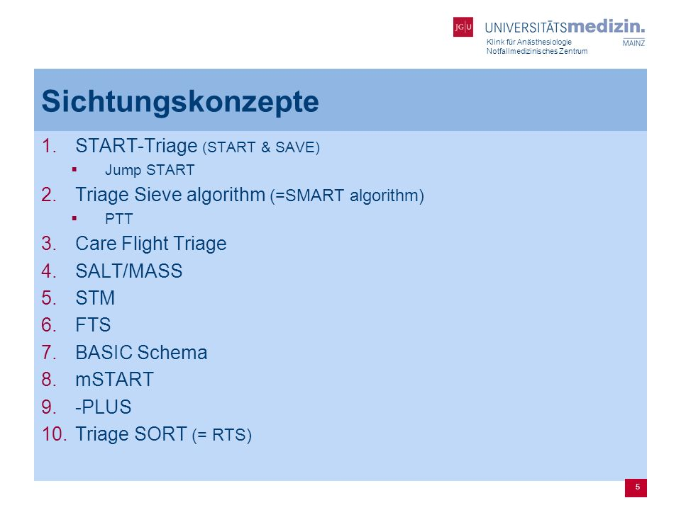 Sichtungskonzepte START-Triage (START & SAVE)