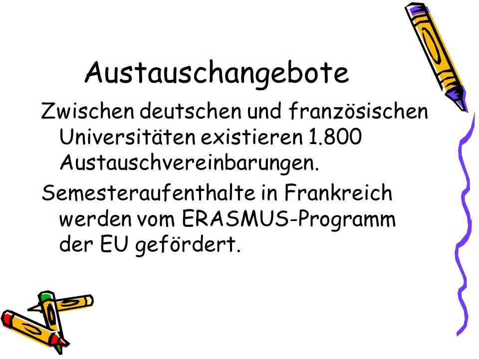 Austauschangebote Zwischen deutschen und französischen Universitäten existieren 1.800 Austauschvereinbarungen.