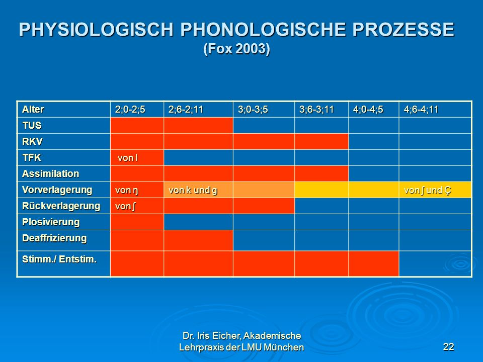 PHYSIOLOGISCH PHONOLOGISCHE PROZESSE (Fox 2003)