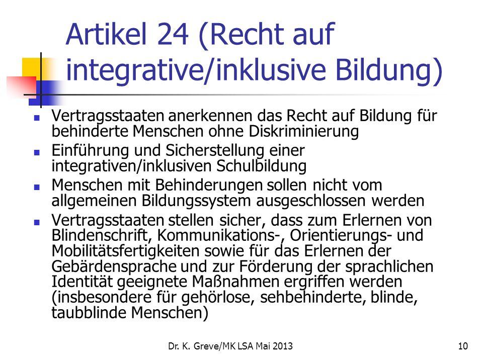 Artikel 24 (Recht auf integrative/inklusive Bildung)