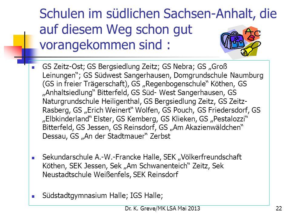 Schulen im südlichen Sachsen-Anhalt, die auf diesem Weg schon gut vorangekommen sind :