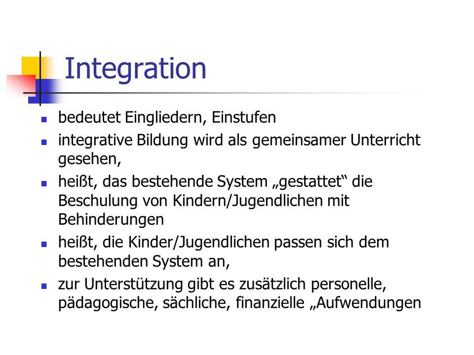 Integration bedeutet Eingliedern, Einstufen