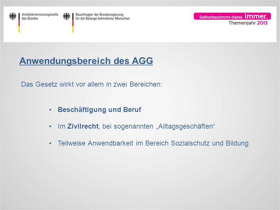 Anwendungsbereich des AGG