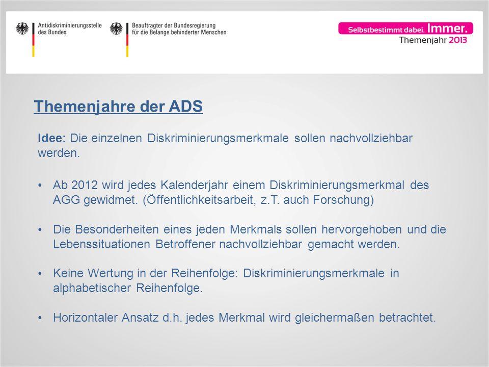 Themenjahre der ADS Idee: Die einzelnen Diskriminierungsmerkmale sollen nachvollziehbar werden.