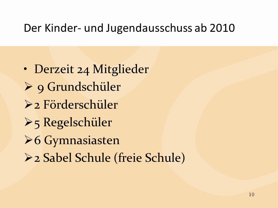 Der Kinder- und Jugendausschuss ab 2010