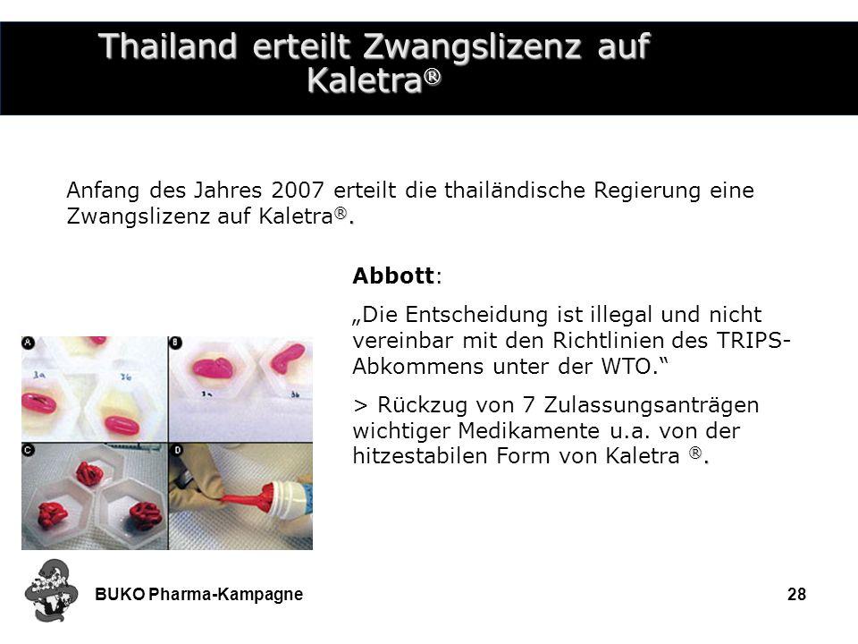 Thailand erteilt Zwangslizenz auf Kaletra®