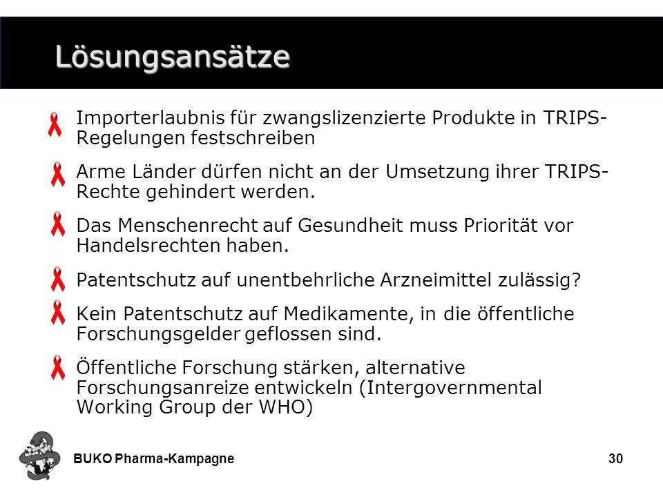 Lösungsansätze Importerlaubnis für zwangslizenzierte Produkte in TRIPS-Regelungen festschreiben.