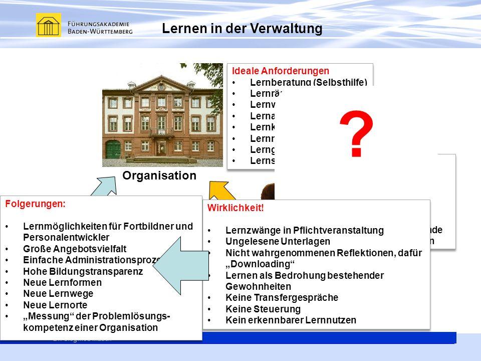 Lernen in der Verwaltung Organisation Technik Mensch