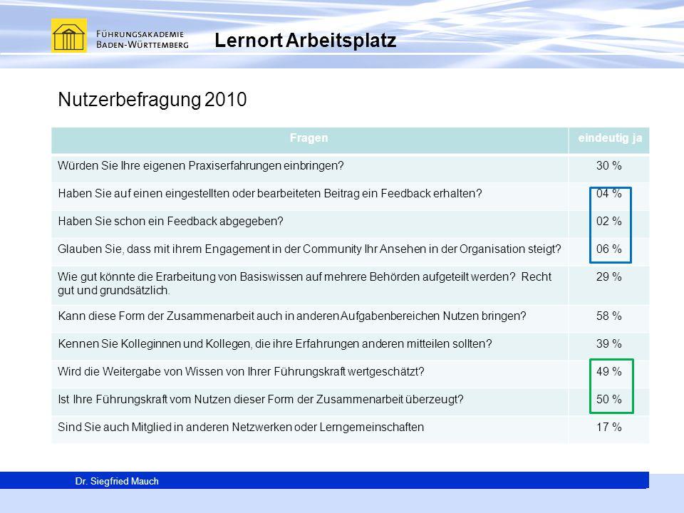 Lernort Arbeitsplatz Nutzerbefragung 2010 Fragen eindeutig ja
