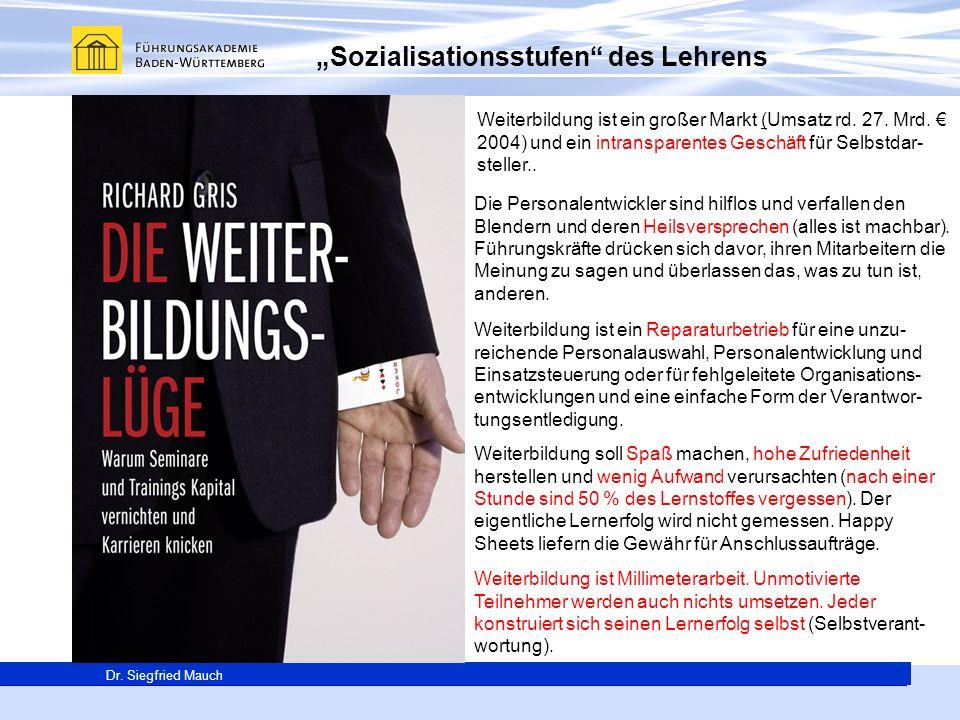"""""""Sozialisationsstufen des Lehrens"""