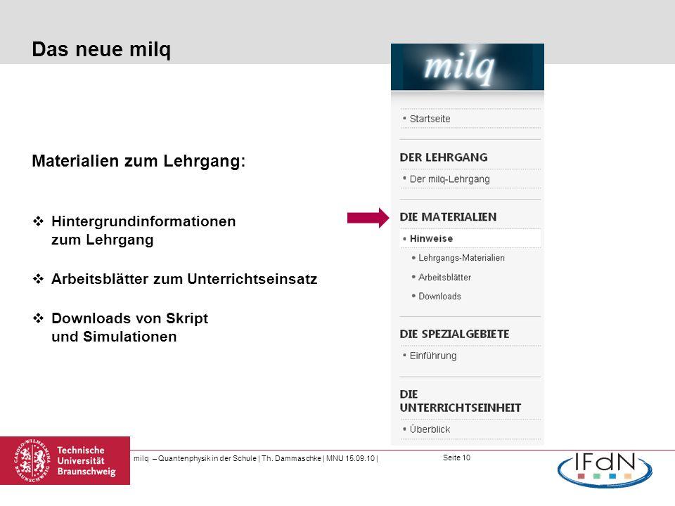 Das neue milq Materialien zum Lehrgang: