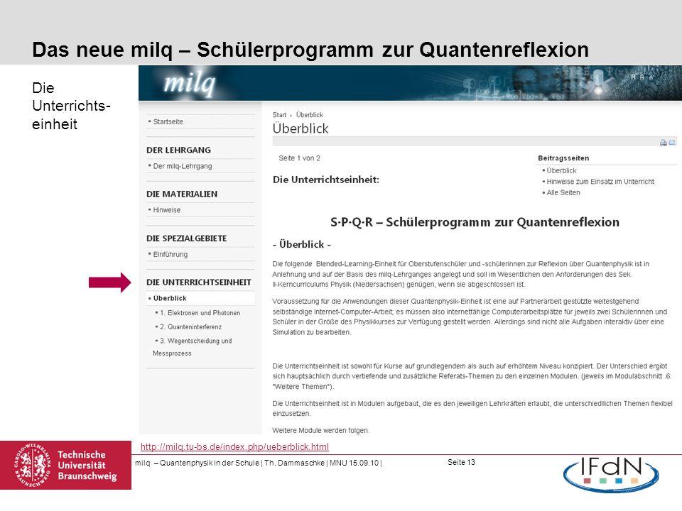 Das neue milq – Schülerprogramm zur Quantenreflexion