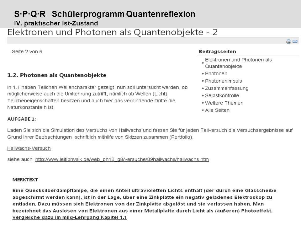 S·P·Q·R Schülerprogramm Quantenreflexion IV. praktischer Ist-Zustand