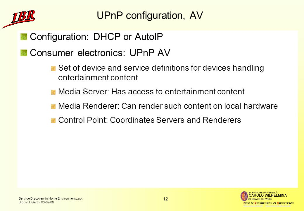 UPnP configuration, AV Configuration: DHCP or AutoIP
