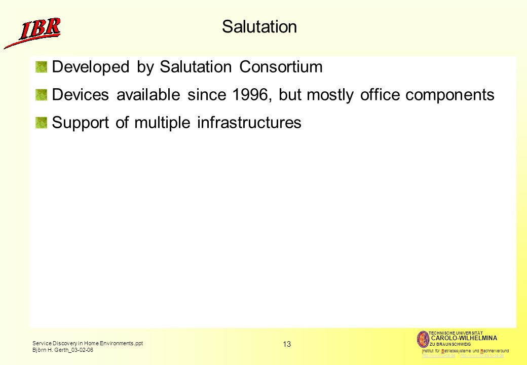 Salutation Developed by Salutation Consortium