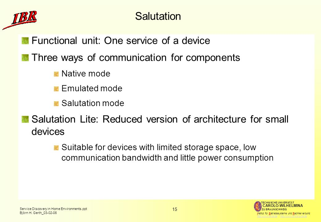 Salutation Functional unit: One service of a device